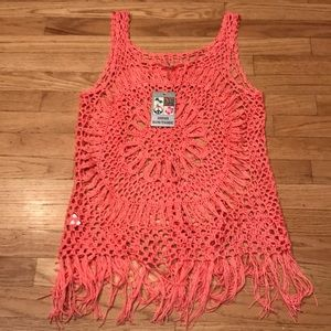 India Boutique Crocheted Fringed  Top